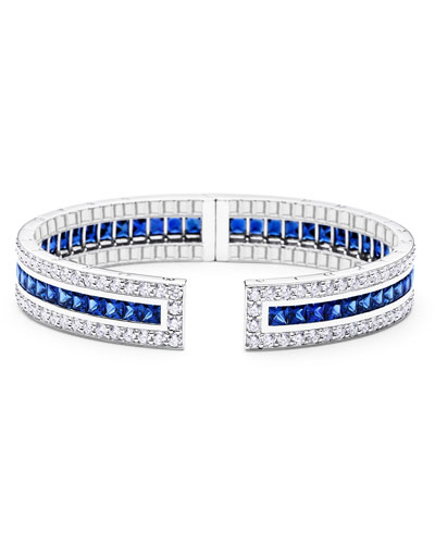 Rectangular Pinpoint Cuff Bracelet with Sapphires & Diamonds