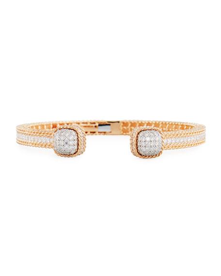 Baroccio 18K Rose Gold Bangle Bracelet with Diamonds