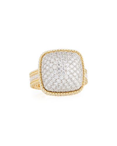 Barocco Diamond Dome Ring in 18K Gold, Size 8