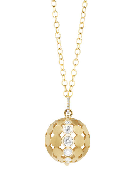Carelle Disco Dots Ball Pendant Necklace with Diamonds