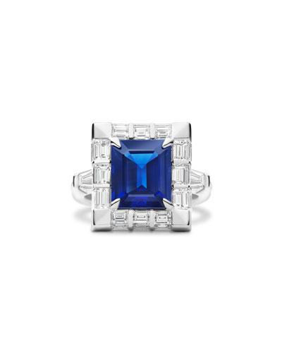 Emerald-Cut Blue Sapphire & Diamond Baguette Ring in 18K White Gold