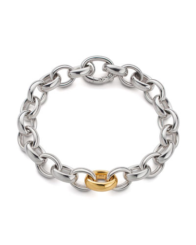 Sterling Silver Bracelet with 18k Yellow Gold Link, 7.5