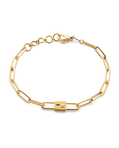 18k Yellow Gold Paperclip Chain Lock Charm Bracelet, 8