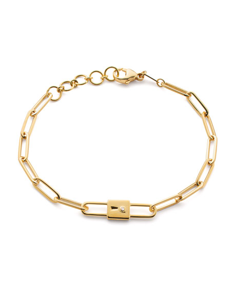 18k Yellow Gold Paperclip Chain Lock Charm Bracelet, 8""
