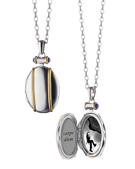 """Sterling Silver and 18k Yellow Gold Locket Necklace, 32"""""""