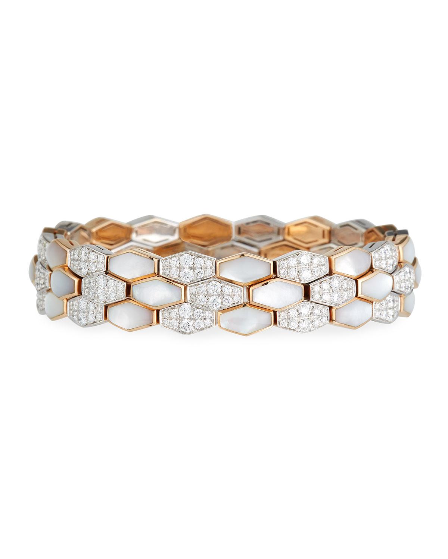 Picchiotti Hexagonal Mother-of-Pearl & Diamond Earrings in 18K Rose Gold 1Mvr3d40Mc