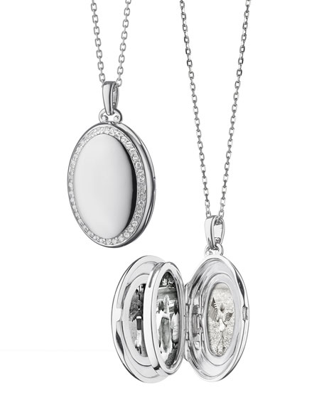 """Sterling Silver Midi 4-Image Locket Necklace with White Sapphires, 32"""""""