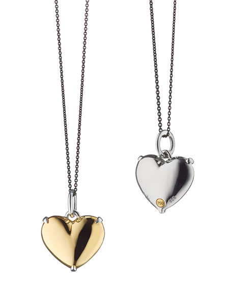 18k Yellow Gold and Sterling Silver Heart Necklace, 17""