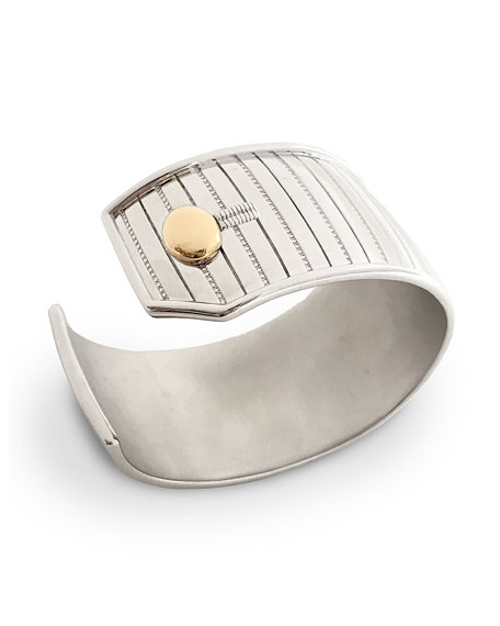 Sterling Silver Pinstripe Cuff Bracelet with 18k Yellow Gold Trim, Medium