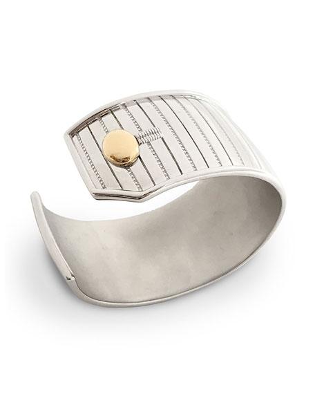 Sterling Silver Pinstripe Cuff Bracelet with 18k Yellow Gold Trim, Medium
