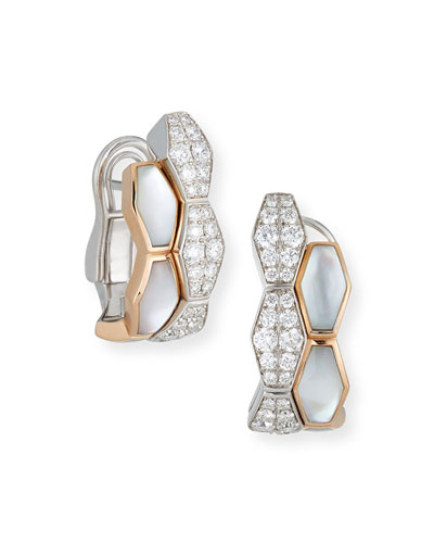 Hexagonal Mother-of-Pearl & Diamond Earrings in 18K Rose Gold