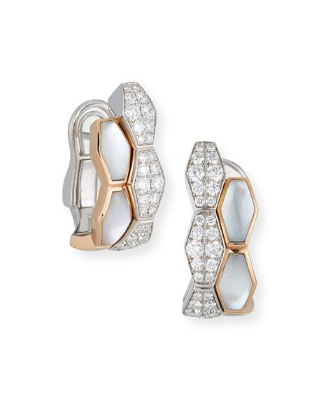 Hexagonal Mother-of-Pearl & Diamond Earrings in 18K Rose Gold