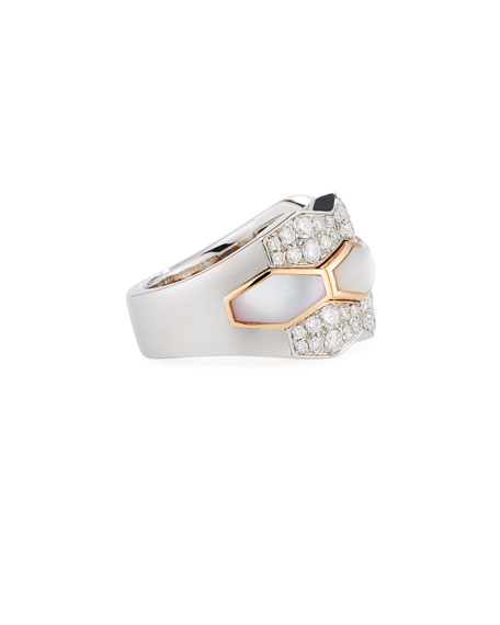Hexagonal Mother-of-Pearl & Diamond Ring in 18K Rose Gold, Size 6.25