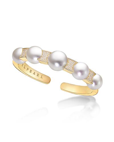 Kobe Avenue Cuff with South Sea Pearls & Diamonds