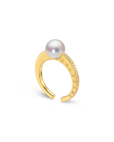 Pearl & Channel-Set Diamond Ring