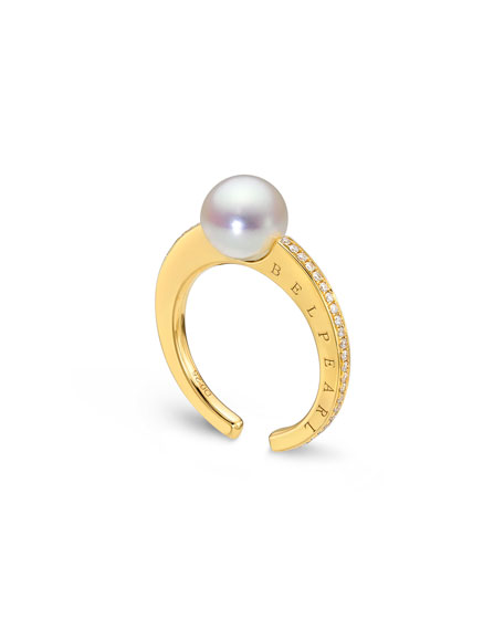 Belpearl Kobe Slim Pearl & Channel-Set Diamond Ring
