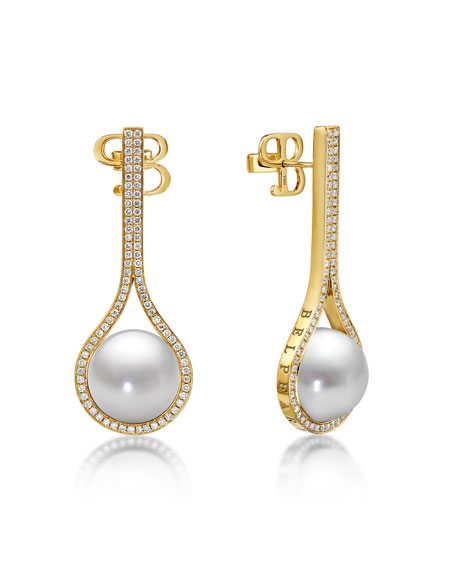 Kobe Drop Pearl & Diamond Earrings