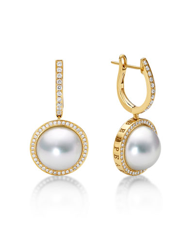 Diamond & Pearl Bezel Drop Earrings
