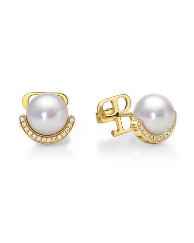 Kobe Crescent Pearl & Diamond Earrings