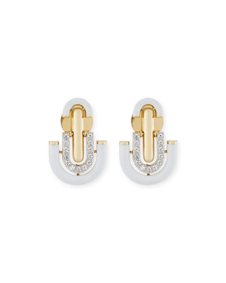 White Enamel & Diamond Unity Earrings