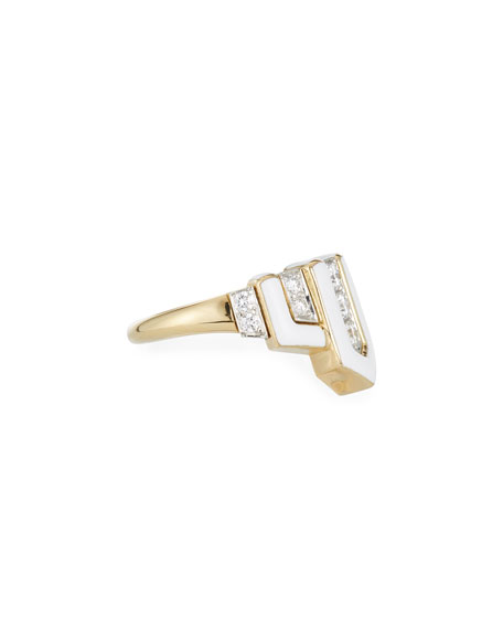 Geometric White Enamel & Diamond Ring