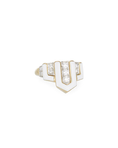 Geometric White Enamel & Diamond Ring