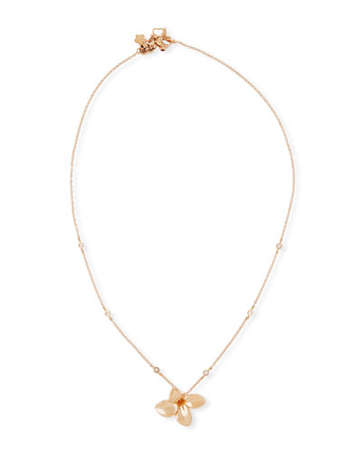 Giardini Segreti Petite Diamond Pendant Necklace in 18K Rose Gold
