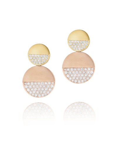 Disco Dots Two-Tone 18K Gold Earrings with Diamonds