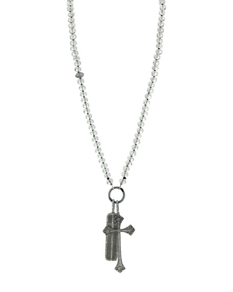 Crystal Quartz Beaded Necklace with Diamond Cross & Dog Tag Pendants