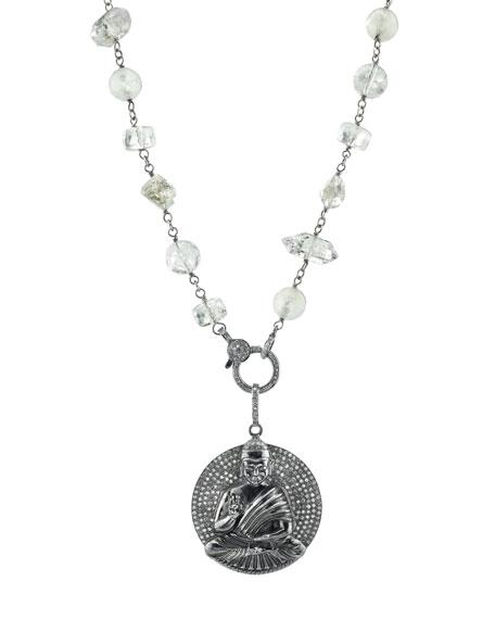 Crystal Quartz Beaded Necklace with Diamond Sitting Buddha Pendant