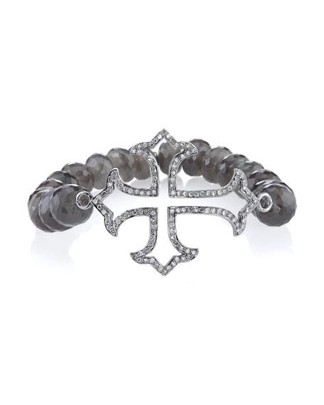 9mm Beaded Moonstone Bracelet with Diamond Gothic Cross