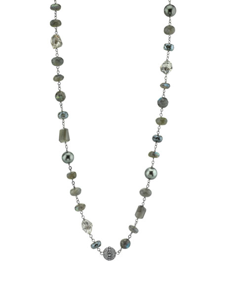 Beaded Gray Necklace with Diamond Bezel Bead
