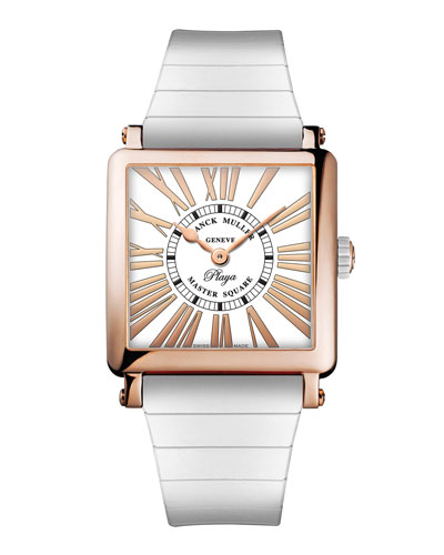Master Square Playa 18k Rose Gold Watch on White Rubber Strap