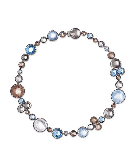 Sadie Bubble Riviere Necklace in Multi-Riverstone Foil