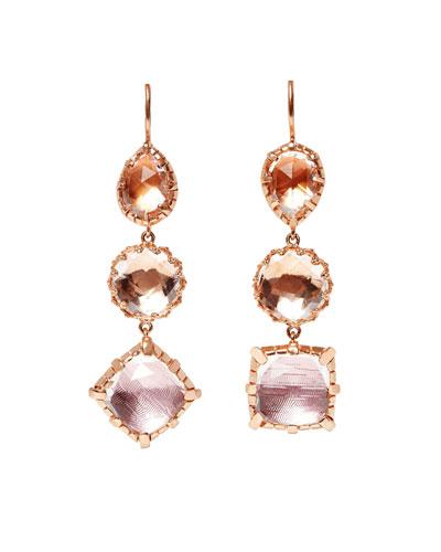 Sadie Mismatched Three-Drop Earrings in Multi-Peach Foil