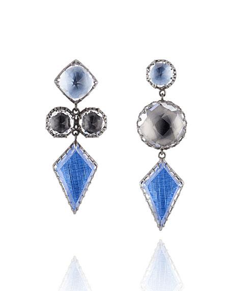 Sadie Mismatched Kite Drop Earrings in Riverstone Foil