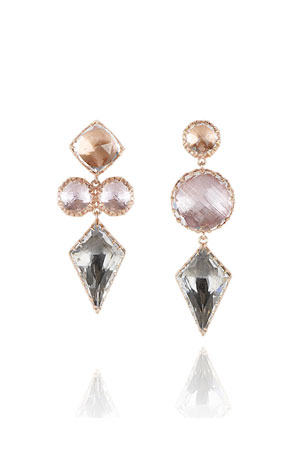 Larkspur & Hawk Sadie Mismatched Kite Drop Earrings in Multi-Peach Foil