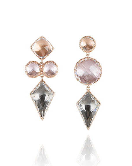 Larkspur & Hawk Sadie Mismatched Kite Drop Earrings in Multi-Peach Foil L8Xu3vo