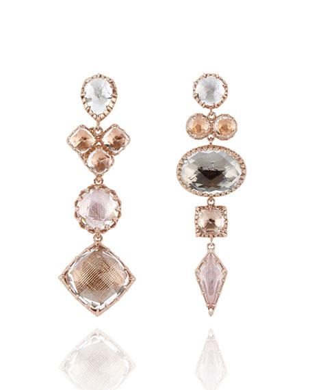 Sadie Mismatched Drop Earrings in Multi-Peach Foil