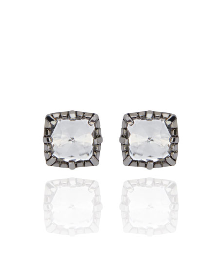 Bella Button Earrings with White Foil