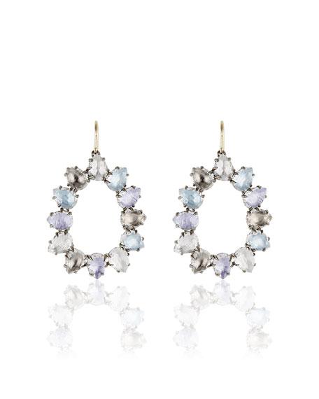 Caterina Open Frame Earrings in Multi-Hydrangea Foil
