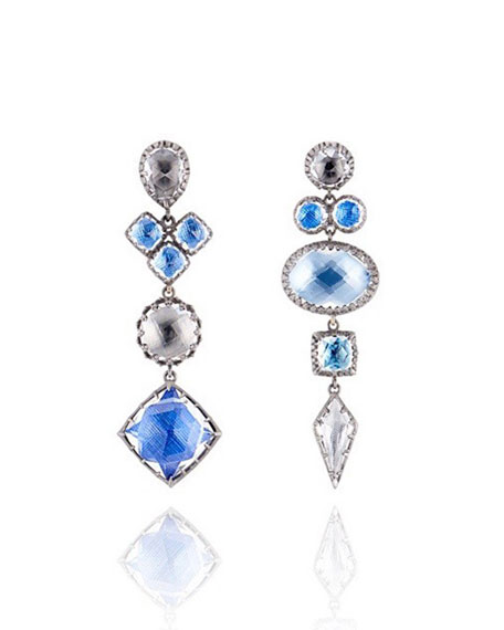 Sadie Mismatched Drop Earrings in Multi-Blue Foil