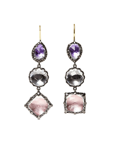 Sadie Black Rhodium-Washed Three-Drop Earrings in Sweet Pea Foil