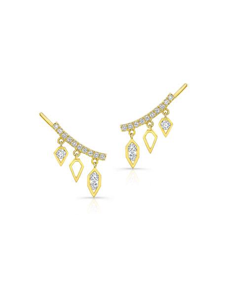 Diamond Dangle Drop Crawler Earrings