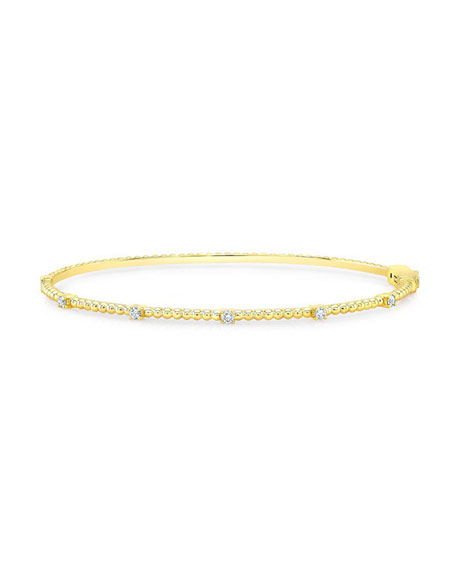 14K Gold Beaded Bubble Bangle with Diamonds