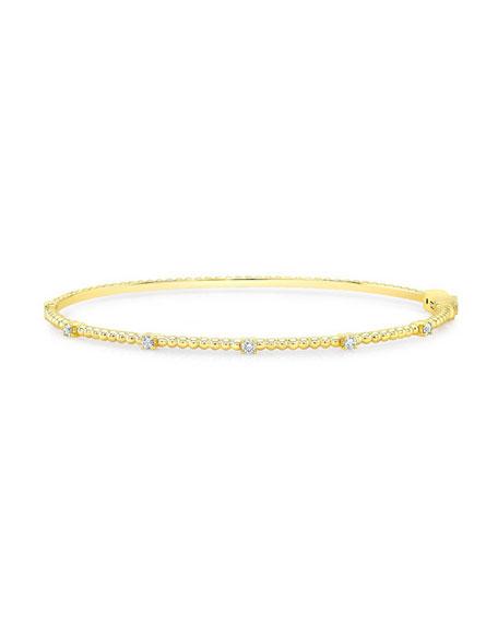 14K Gold Beaded Bubble Bangle with Diamonds
