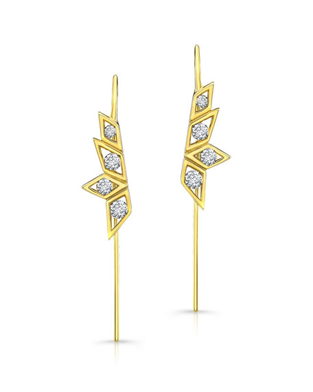 Birds of Paradise Diamond Wire Earrings