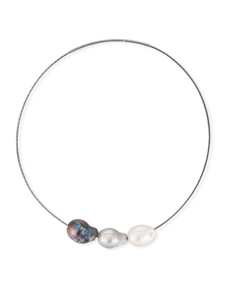Margo Morrison Peacock & Baroque Pearl Y-Drop Necklace C85vlhLZ