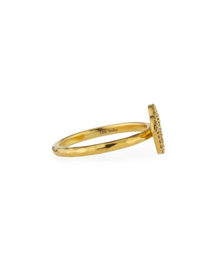 18K Gold Lotus Ring with Diamonds, Size 7