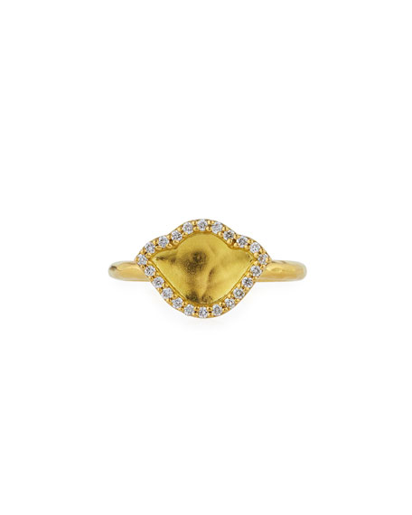 18K Gold Lotus Ring with Diamonds, Size 7